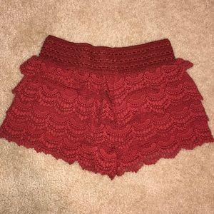 Crochet Red/Orange Shorts